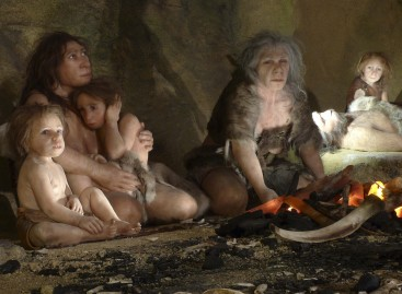 Exhibit Showing the Life of a Neanderthal Family in a Cave in the New Neanderthal Museum in the Northern Town of Krapina