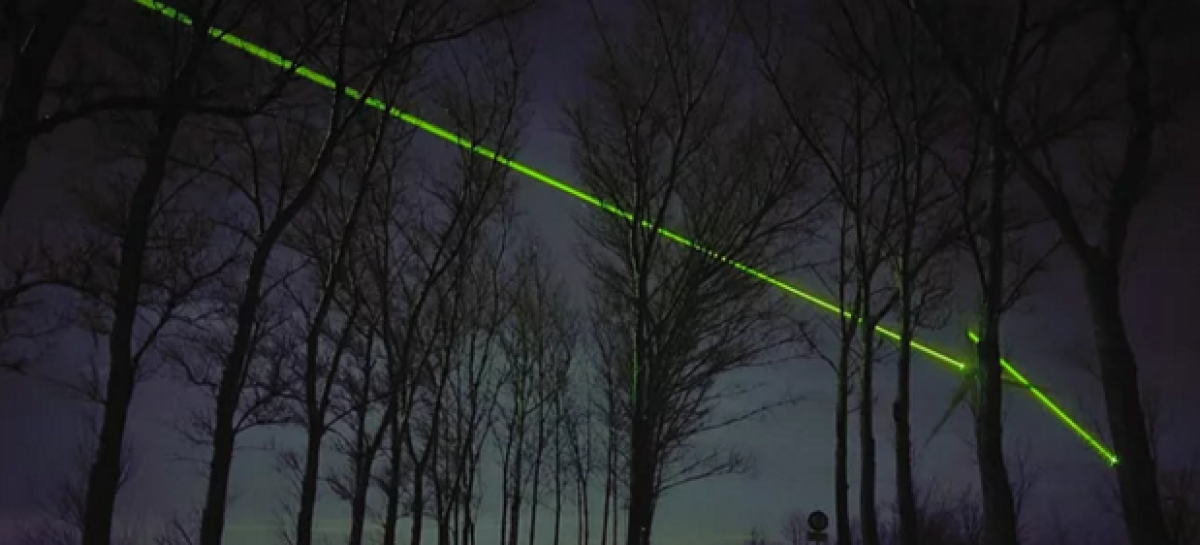 Laser Windmills Light Up Night Sky